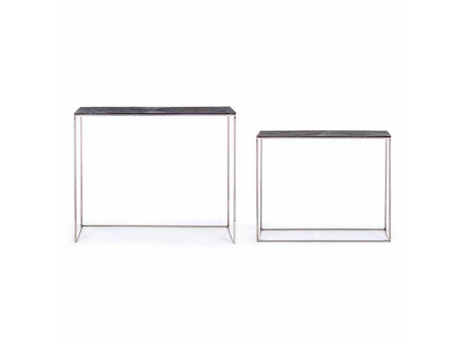 2 Consolle in staal en geplateerd aluminium Modern design Homemotion - Narnia