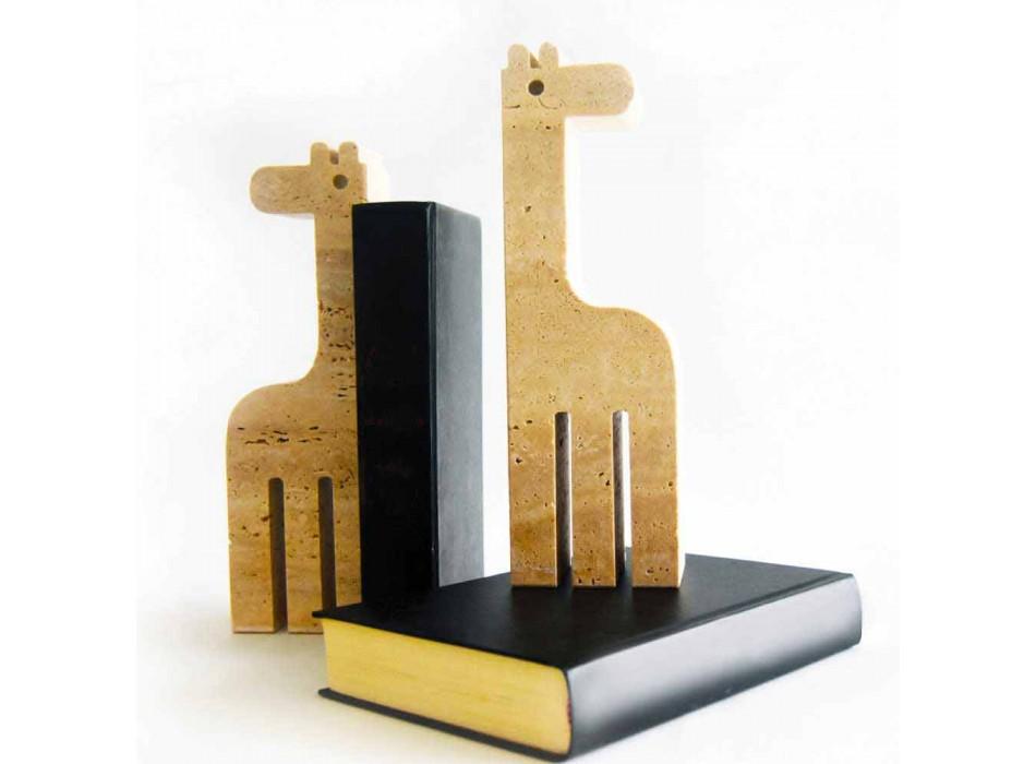 2 boekensteunen in travertijnmarmer in de vorm van een giraf Made in Italy - Morra