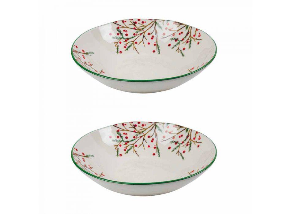 2 Saladeschalen met kerstversiering in porseleinen serveerschalen - Butcher's Broom
