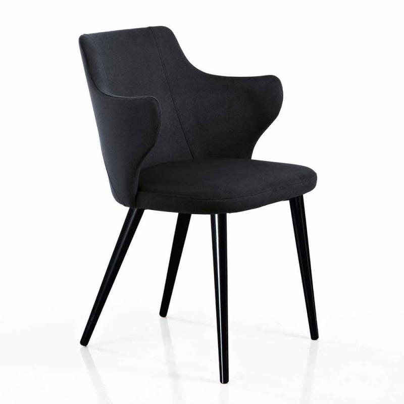 2 elegante fauteuils in de woonkamer van gekleurde stof en zwart metaal - hertogin