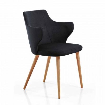 2 design eetkamerstoelen in gekleurde stof en essenhout - hertogin