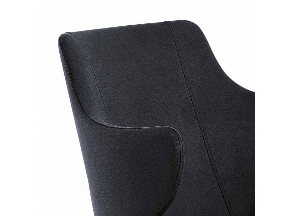 2 Eetkamerfauteuils in gekleurde stof en design essenhout - Duchessa