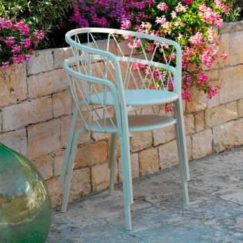 2 buitenfauteuils in stapelbaar geverfd metaal Made in Italy - Adia