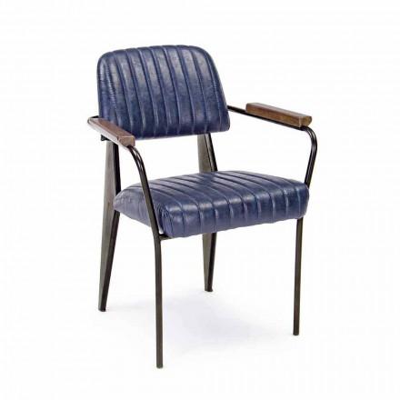 2 fauteuils van kunstleer met vintage effect en armleuningen - Clare