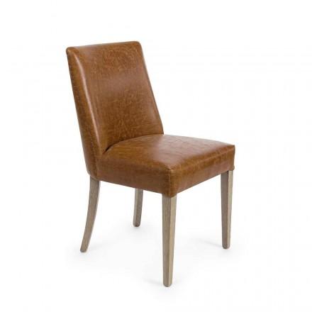 2 design stoelen in bruin kunstleer en eikenhout Homemotion - Gallia