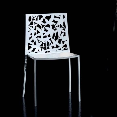 2 modern design laser gesneden wit metalen stoelen - Patatix