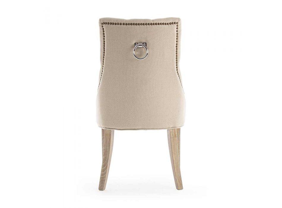 2 moderne linnen stoelen met eikenhouten structuur Homemotion - Barna