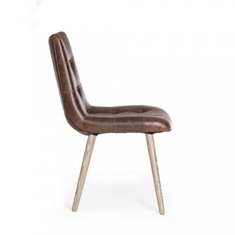 2 stoelen in moderne industriële stijl bekleed met kunstleer Homemotion - Riella