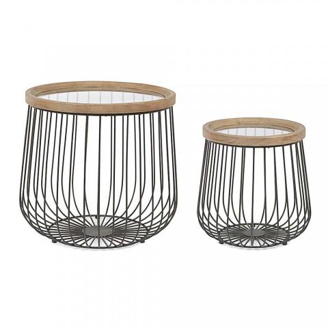 2 Homemotion salontafels met rond glas en houten blad - Randolo