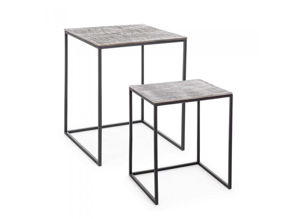 2 salontafels Homemotion aluminium en geverfd staal - Sereno
