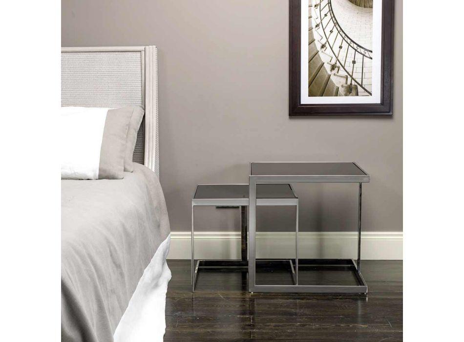 2 tafels modern design in roestvrij staal met glasplaat Bubbi