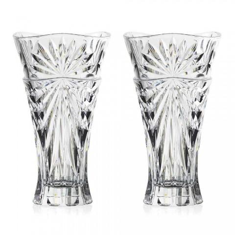 2 tafeldecoratie vazen in uniek design ecologisch kristal - Daniele