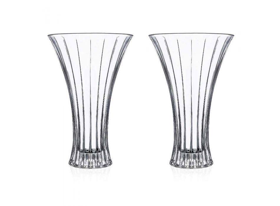 2 Design Decoratie Vazen in Transparant Eco Kristal Decorated Luxe - Senzatempo