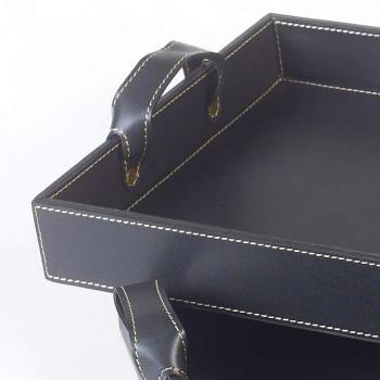 2 zwart lederen ontwerpt Tray 41x28x5cm en 45x32x6cm Anastasia