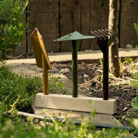 3 metalen tuingereedschap met houten voet Made in Italy - Garden