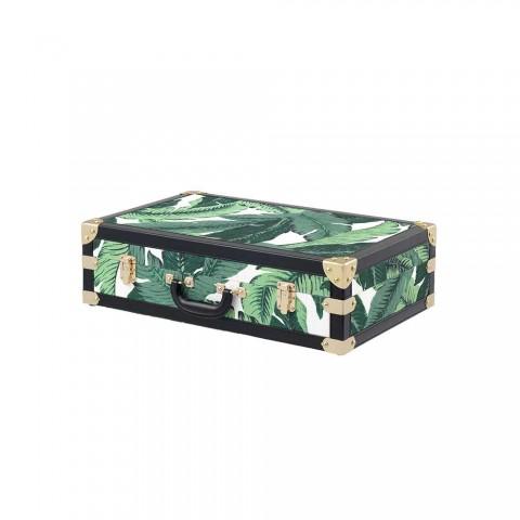 3 Design Trunks in Mdf en stof met zwart lederen effectdetails - Amazonia