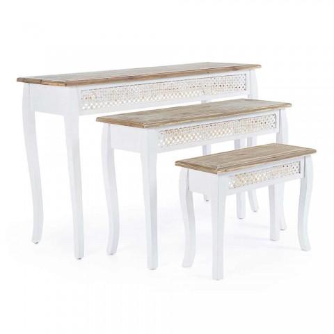 3 Designconsole in klassieke stijl in bamboe en mdf van sparrenhout - Camalow