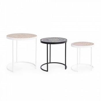 3 salontafels in Mdf met ingelegde Homemotion decoraties - Mariam
