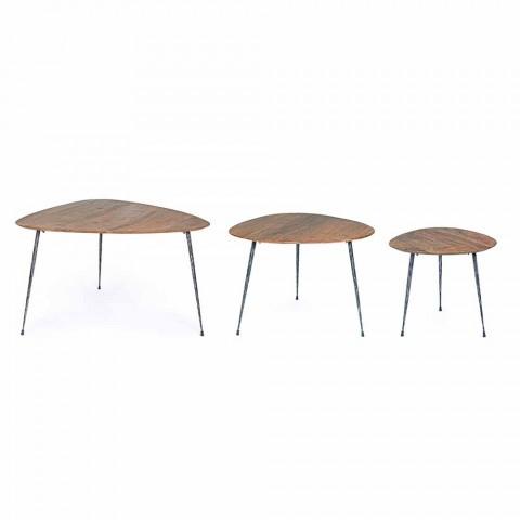 3 moderne salontafels met Homemotion mangohouten blad - Kalidi