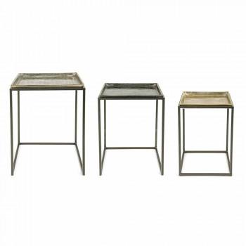 3 vierkante salontafels van aluminium en staal Homemotion - Quinzio