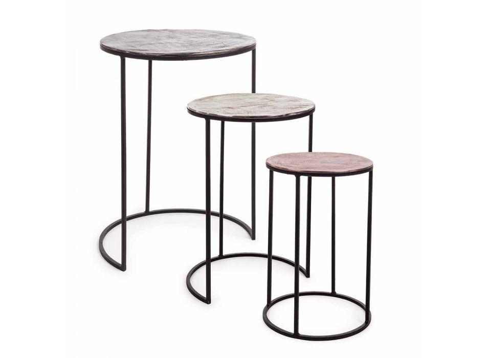 3 ronde salontafels van aluminium en staal Homemotion - Sempronio