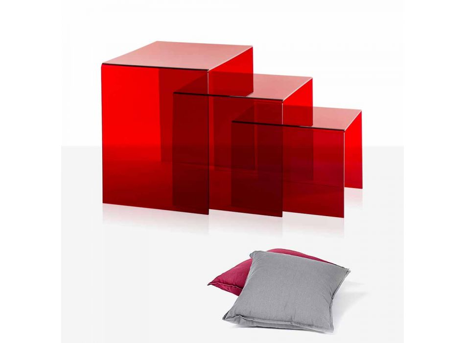 3 rode stapelbare tafels Amalia, modern design, made in Italy