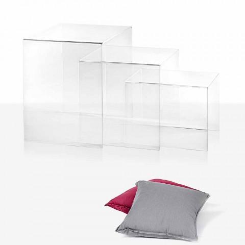 3 transparante stapelbare tafels Amalia design, gemaakt in Italië