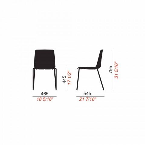 4 stapelbare buitenstoelen van metaal en polypropyleen gemaakt in Italië - Carita
