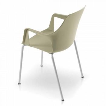 4 stapelbare buitenstoelen in polypropyleen en metaal gemaakt in Italië - Carlene