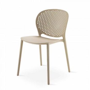 4 modern design gekleurde stapelbare polypropyleen stoelen - Pocahontas