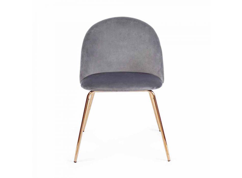 4 design stoelen bekleed met fluweel met stalen structuur Homemotion - Dania