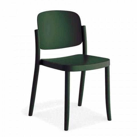 4 moderne stapelbare buitenstoelen in polypropyleen gemaakt in Italië - Bernetta