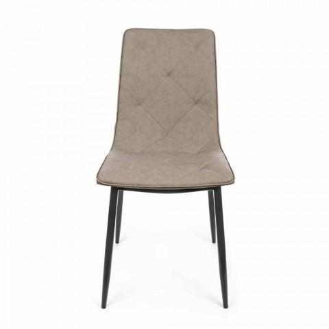 4 moderne stoelen bekleed met kunstleer met stalen onderstel Homemotion - Daisa