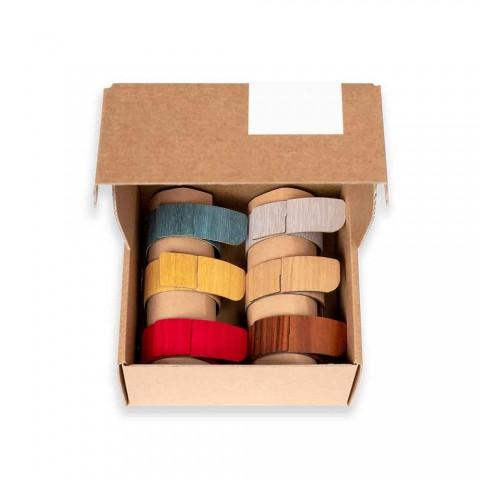 6 servetringen in modern hout en stof Made in Italy - Potty