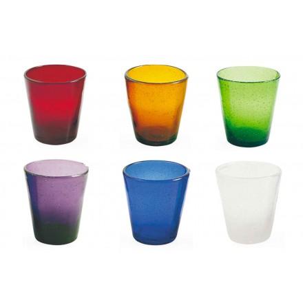 12 glazen Water Craft Service van gekleurd geblazen glas - Yucatan