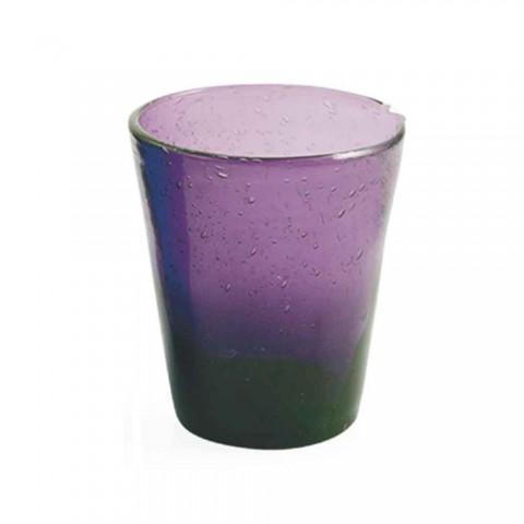 6 glazen Water Craft Service van gekleurd geblazen glas - Yucatan