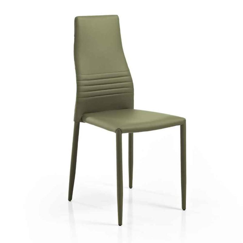 6 stapelbare stoelen in gekleurd eco-leer modern design voor woonkamer - Merida