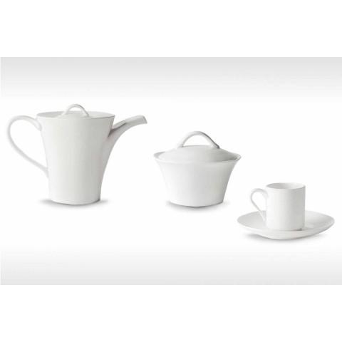 6 porseleinen koffiekopjes met koffiepot en suikerpot - Romilda