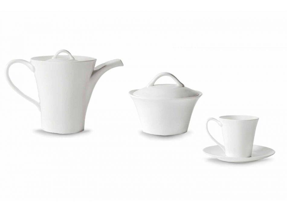 6 porseleinen koffiekopjes met bord, koffiepot en suikerpot - Romilda