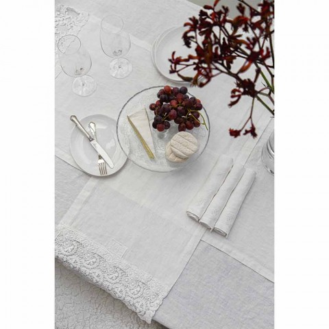 6 lichte linnen servetten met Italiaans luxe doosdecor - Virtu