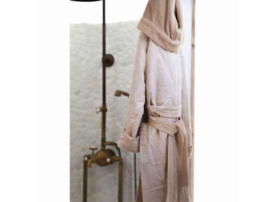 Omkeerbare badjas van beige badstof en linnen met capuchon - Mirandola