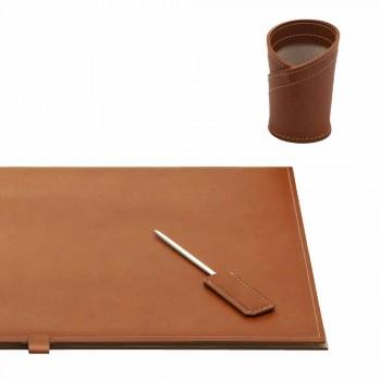 Bureau-accessoires in geregenereerd leer 4 stuks Made in Italy - Aristoteles