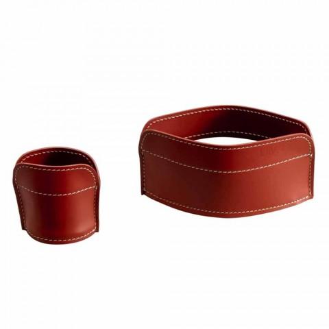 4-delige geregenereerde lederen bureau-accessoires Made in Italy - Ebe