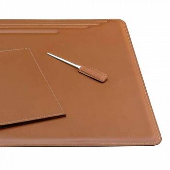 Bureau-accessoires in geregenereerd leer 5 stuks Made in Italy - Ebe