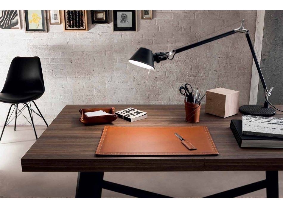 Accessoires 4-delig geregenereerd lederen bureau Made in Italy - Ascanio