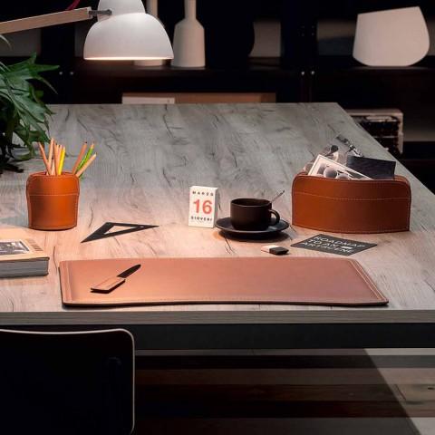 Accessoires 4-delig geregenereerd lederen bureau Made in Italy - Brando