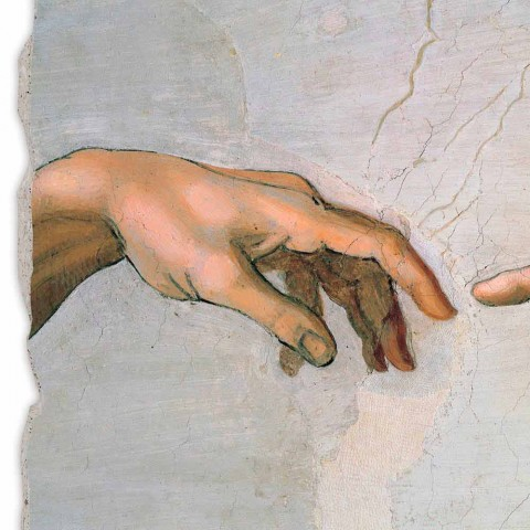 "Fresco made in Italy Michelangelo's ""schepping van Adam"" deel."