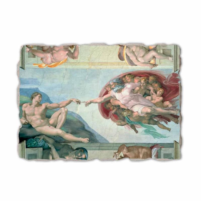 """Fresco Michelangelo's """"schepping van Adam"""", handgemaakte"""