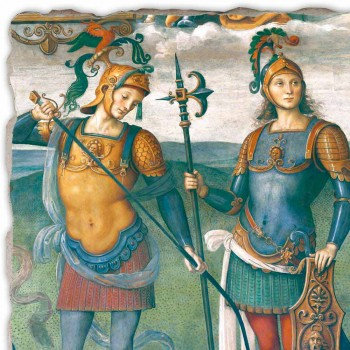 "Perugino fresco ""The Fortress, Temperance en zes helden van de Oudheid"""