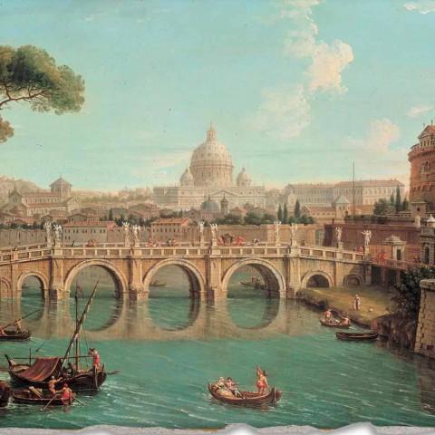 """Fresco reproductie Antonio Joli """"Uitzicht van St. Peter"""""""